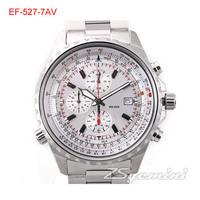 New EF-527D-7AV Men's Series Dial EF-527D 100M Sports Watch EF 527 Chronograph Wristwatch 1/20 Second Stopwatch Swing Pendulum