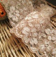High quality   Elastic stretch champagne flower Lace Trim  Sewing Doll  DIY 6cm 2-1/4inch