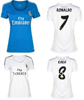 thai quality  real madrid home white women soccer jersey 2014  RONALDO#7 lady football jerseys real madrid girl soccer uniforms