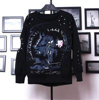 wholesale 2014 Korea style new arrival  thickening fleece sweatshirt rivet hole loose sweatshirt