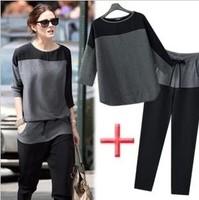 Free Shipping EU Style Chiffon Color Block O-Neck Loose Casual T-shirt Women's Three Quarter Sleeve Top+Pants 2pcs/Set LBR8111