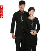 [Free ship-10sets-Top@Pant] E39 work wear autumn and winter work wear work wear winter long-sleeve  full set waiter's uniforms