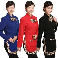 [Free ship-10sets-Top@Pant] E20 long-sleeve winter work wear clothes  full set waiter's uniforms