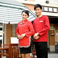 [Free ship-10sets-Top@Pant] Work wear long-sleeve autumn and winter waitress uniforms winter clothes  full set waiter's uniforms