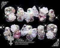 Mika nail handmade sclerite bride nail art false nail patch cuicanduomu full austrian diamond big bow