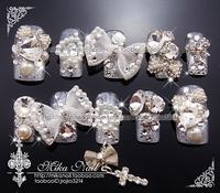 Mika nail handmade sclerite bride nail art false nail patch silvery white gorgeous gradient austrian diamond