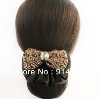 Women's Headband Acrylic Crystal Beaded Bowknot Barrettes Clip Hair Snood Hairnet