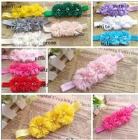 "30pcs/lot triple fashion 2""chiffon Chiffon Flowers Two Pearl Two Rhinestone Flower headband chiffon Flowers hadband"
