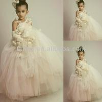 Latest Vogue Design Fashion Tulle Ivory Floor Length Flower Girl Dress