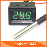 "DC12V/24V Digital Temp Gauge -55 ~125 Celsius Degrees 0.56"" Green LED Probe Thermometer for Water/Air/Indoor/Outdoor #090951"