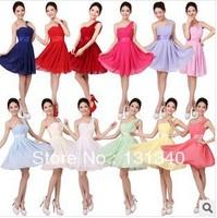 Latest Designs Prom short Chiffon Cheap Evening Dress 2014 Zipper One shoulder Evening gown