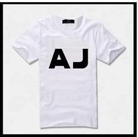 100% cotton high quality man's short sleeve summer white famous brand AJ t-shirt 1140