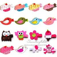 Cute Mini Felt Hair Clips, Flower Felt hair clip, felt hair clips, baby hair clips, toddler hair clips 40 pcs/LOT