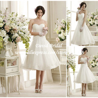 New Fashion Sweetheart A Line Short Wedding Dresses Knee Length Bridal Gown with Lace Free Shipping SE282