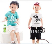 Free shipping! 2014 summer children's clothing wholesale girl boy leisure two-piece suit Trojan printed children short sets