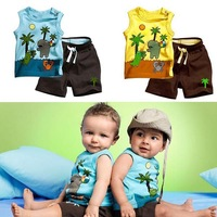 Toddlers Outfits Clothes Boy's Coconut Tree Pattern Sleeveless Tops+Pants 0-3Y Drop&Free Shipping