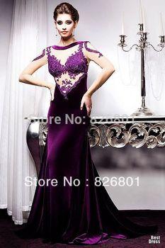 Vestidos De Fiesta  Sexy 2014 Lace Long Sleeve Purple Mermaid Evening Dress  Evening Gowns 2014 New Arrival Vestidos De  Festa