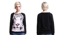 Free Shipping Fashion Punk Studs Hoodies Women Tiger Printed Pullovers Rivet Neck Long Sleeve Loose Sweatshirts New---H006