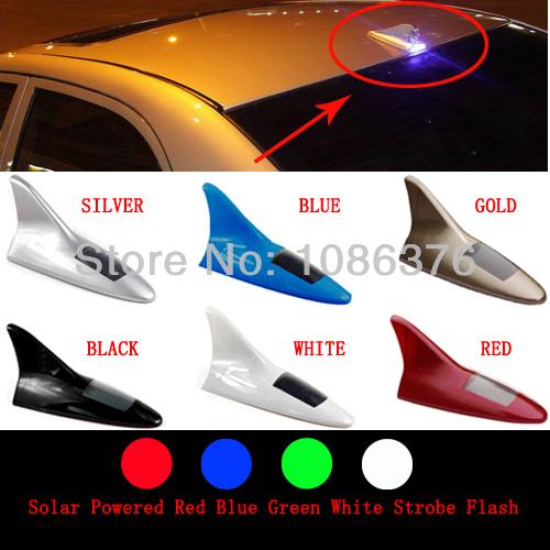 20pcs/lots Car Solar 8 LED Flash Tail Light night running Lamp Shark Fin Decorative 6color free shipping(China (Mainland))