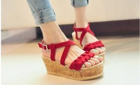 2014 knitted cross straps twisted small platform wedges sandals platform shoes female shoes