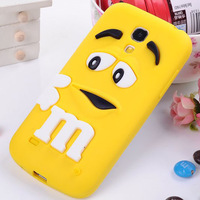 For Samsung galaxy S4 Mini i9190 9190 Silicone Case 3D cute silicone M&M Chocolate Case M Rainbow cartoon Soft case