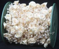 Pearl Rose flower beads chain Garland Centerpiece 10FT
