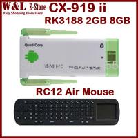 CX-919 ii Android TV Box Quad Core Mini PC RK3188 2GB RAM 8GB ROM Bluetooth Miracast Dongle TV Stick CX 919 ii + RC12 Air Mouse