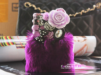 Free delivery of 2014 new luxury hair purple flowers bow mobile phone shell