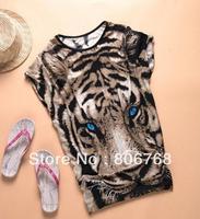 Tiger Printed T-shirt Long Tops Womens Summer Tees Blue Eyes Popular T shirt Fashion Animal Pattern New