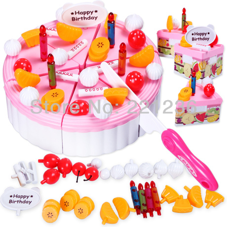 Free shipping Children play house toys Birthday Cake standard package Assembled birthday gift ideas(China (Mainland))