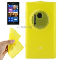 Yellow Translucent TPU Protective Phone Case with Anti-dust Plug for Nokia Lumia 1020