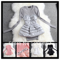 2014 spring autumn women's high quality long sleeves patchwork sweater pink gray black white beading diamond cute pullovers1216