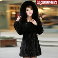 2013 Newest Women Genuine Mink Fur Coat with Rex Rabbit Fur and Fox Fur Hoody Female Winter Warm Outerwear Plus Size