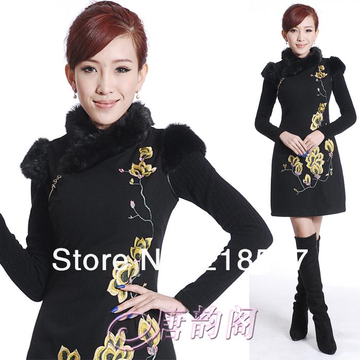 Women's Black Seiko Embroidery Cotton&wool Fabric Qipao Dress Chinese style Sexy Slim Ladies Fur collar Winter Clothing D-1137(China (Mainland))