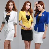 New arrival half sleeve women's small suit jacket work wear career dress set work uniforms 3388