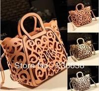 Hot-selling new 2014 fashion women leather handbags Classic Elegance hollow out handbag one shoulder bag messenger bag 2 colors