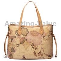 Stylish Traveler Series Map Pattern Single-shoulder Bag Cofffee Handbag for Lady