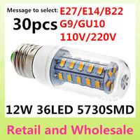 E27-5730SMD-36LED+Free Shipping+LED Corn Light Bulbs Lamps E27 B22 G9 GU10 12W Warm White/White Home Lighting 30pcs/LOT