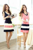 Women cute dress elegant Navy Blue and Pink Chiffon Dress W3333