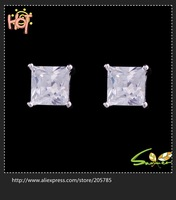 Wholesale 6*6mmJewellery blue/pink/Emareld  lday's 925Silver   Stud Earrings