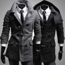 2014 European style detachable hat men's woolen the wild jacket mens dust coat Slim horn button wool coat outwear(China (Mainland))