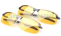 2014 Brand New Mens Polarized Driving Metal frame Sunglasses Yellow Lens Night Vsion Driving Glasses Goggles Reduce Glare