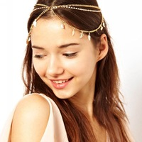 Gold Leaf Pendant Tassel Headband Fashion Statement Hair Accessory Romantic Hair Chain