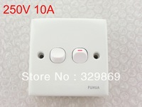 White 10A 250V Button 2 Gang On/Off Wall Mounting Light Switch