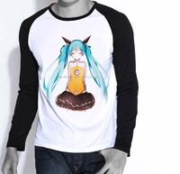 Free Shipping Mens Womens Hatsune Miku Long Sleeves T Shirt Kagamine Len Shirt Japan Anime VOCALOID Print T Shirt
