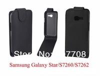 100pcs New Black Flip PU Leather Case for Samsung Galaxy Star S7260 S7262 Free shipping