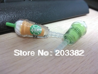 3.5mm Starbucks coffee cup shape earphone jack plugfor mobile phones free shipping