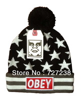 2014 newest hot sale obey stars beanies hats with pom for women sports hip hop cap mens winter street headwear free shipping