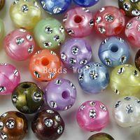 Free Shipping 50 Pcs Random Mixed Acrylic Spacer Beads Bright Dots Round 12mm Dia.(W02652 X 1)