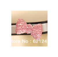 2014 New Item 20pcs/lot 5/5S Shining Rhinestone Bowknot 3.5MM Phone Earphone Jack Plug Stock Wholesale Phone Accessories QZH080
